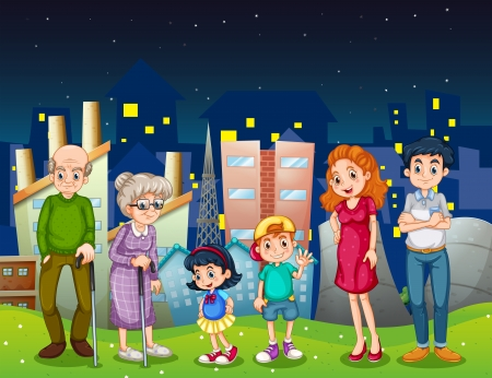 family illustration: Illustration of a family at the city standing in front of the tall buildings Illustration