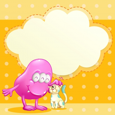 Illustration of a pink monster and a cat with an empty cloud template Vector