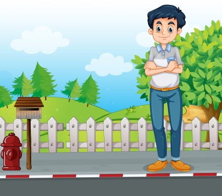 Illustration of a man standing at the street near the wooden mailbox Vector