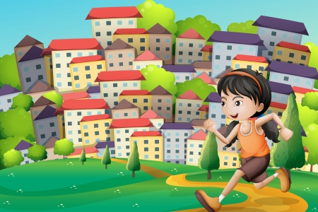 Illustration of a hilltop with a girl running across the buildings Vector