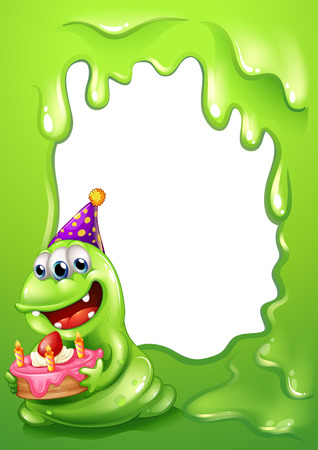 posted: Illustration of a green border design with a monster holding a cake Illustration