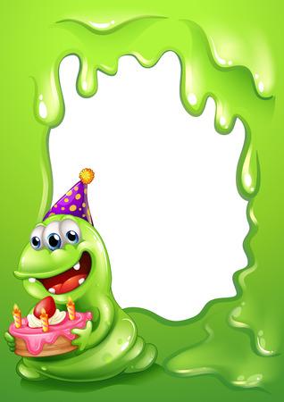 margen: Ilustración de un diseño de la frontera verde con un monstruo que sostiene una torta Vectores