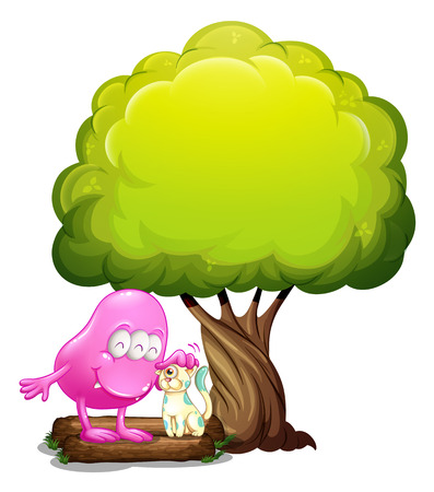 Illustration of a monster and a cat under the tree on a white background Vector