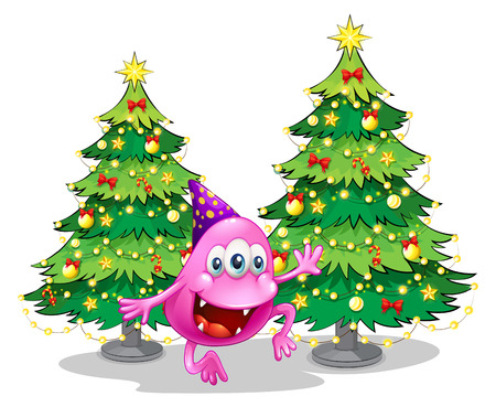 beanie: Illustration of a pink beanie monster near the green christmas trees on a white background