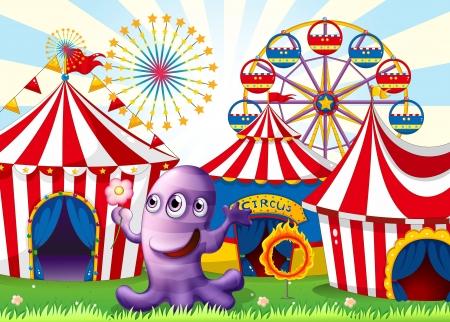 amusement park rides: Illustration of a lavender monster at the amusement park Illustration