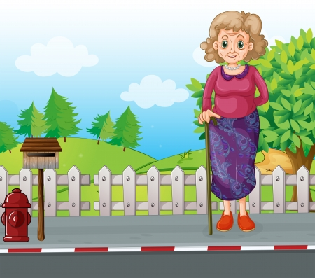outside the box: Illustration of an old woman with a cane standing at the roadside near the mailbox Illustration