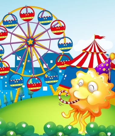 Illustration of an amusement park at the hilltop with an orange monster Vector