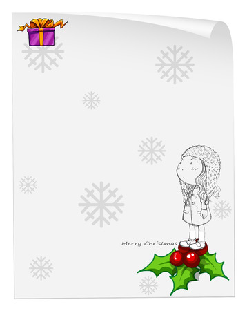 Illustration of a christmas card template with a young girl above the poinsettia plant on a white background Vector