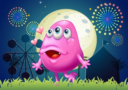 inlove: Illustration of an in-love pink monster at the carnival Illustration
