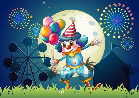 car show: Illustration of a clown with balloons standing in front of the carnival Illustration