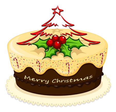 Illustration of a delicious cake for Christmas on a white background Vector