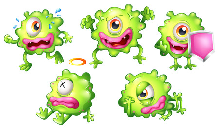 tiresome: Illustration of the different emotions of a green monster on a white background