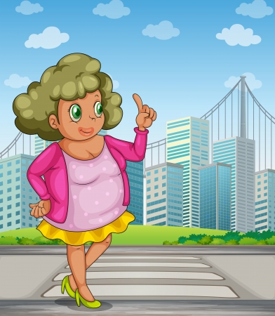 Illustration of a fat girl at the street across the tall buildings Vector