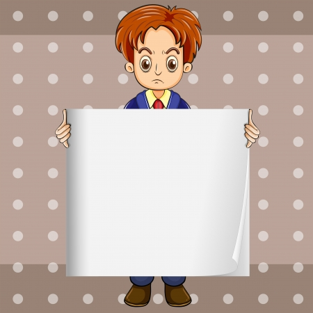 Illustration of a man at the back of the empty signboard Vector