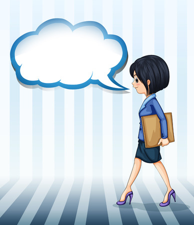 uniform attire: Illustration of a girl walking with an empty callout on a white background