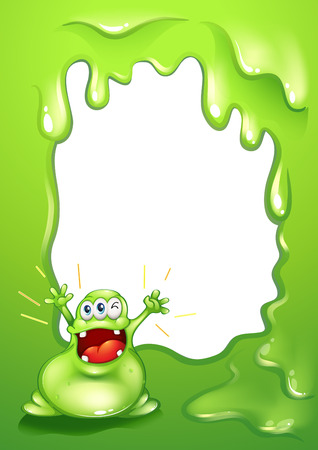 Illustration of a green border template with a green monster shouting Vector