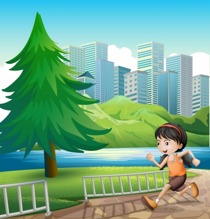 Illustration of a young girl running at the riverbank Vector