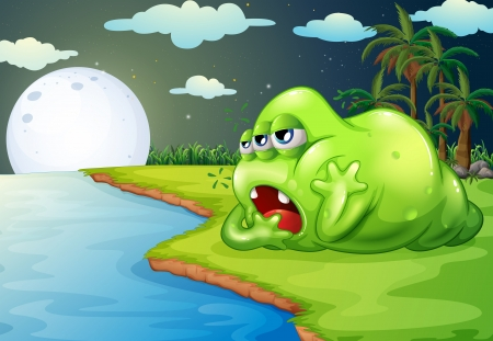 Illustration of a sleepy monster at the riverside Vector