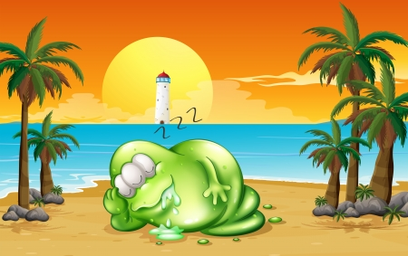 parola: Illustration of a monster sleeping soundly at the beach