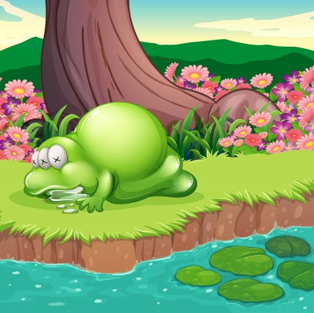 lilypad: Illustration of a monster lying at the riverbank Illustration