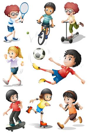 Illustratie van de kinderen deelnemen aan verschillende sportieve activiteiten op een witte achtergrond