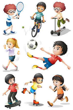 engaging: Illustration of the kids engaging in different sports activities on a white background Illustration