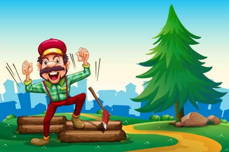 Illustration of a lumberjack shouting while chopping the woods Vector