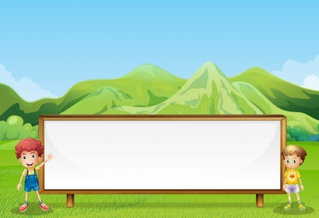 tall grass: Illustration of a big empty signboard at the field with two kids Illustration