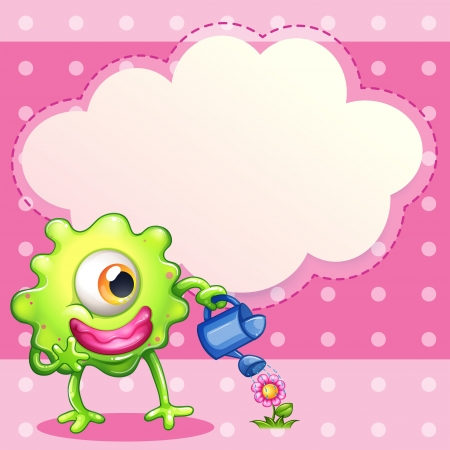 sprinklers: Illustration of a green one-eyed monster watering the plant