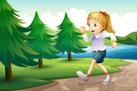 riverside tree: Illustration of a girl jogging near the pine trees at the riverbank