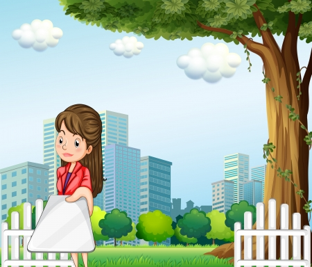 Illustration of a woman using her gadget in front of the buildings Illustration
