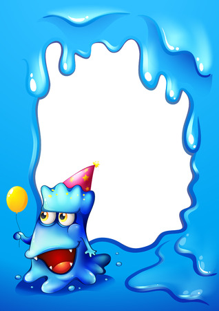 posted: Illustration of a blue border design with a monster wearing a hat and holding a balloon