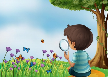 Illustration of a young boy holding a magnifying lens at the garden in the hilltop Vector