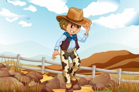 adventurer: Illustration of an adventurer above the hill near the rocky area Illustration