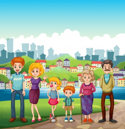 siblings: Illustration of a family at the riverbank Illustration