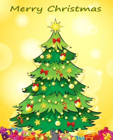 stars cartoon: Illustration of a christmas card template with a green christmas tree