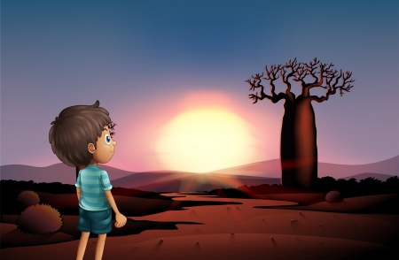 Illustration of a boy at the desert watching the sunset Illustration