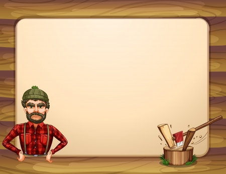 cut logs: Illustration of an empty wooden frame template with a lumberjack