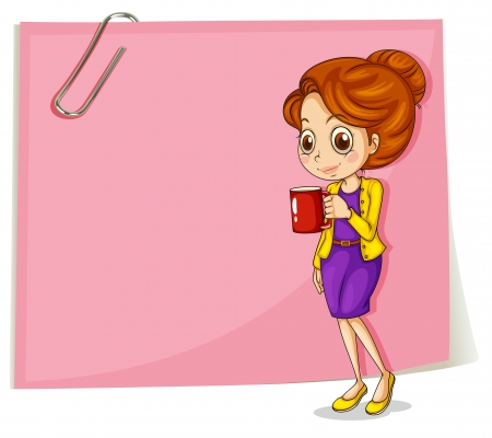 Illustration of a girl drinking her coffee in front of the empty pink template on a white background Vector