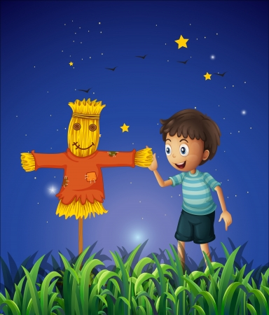 Illustration of a boy and a scarecrow at the ricefield Vector
