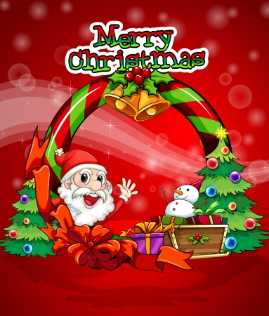 Illustration of a colorful christmas template with Santa Claus Vector
