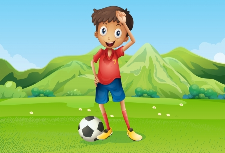 Illustration of a football player at the field Vector