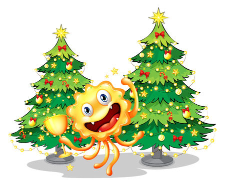 Illustration of a monster near the christmas trees holding a trophy on a white background Vector