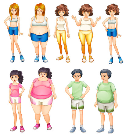 Illustration of the fat and skinny people on a white background Vector