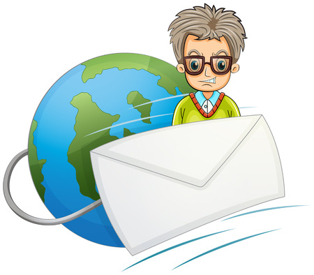 cartoon envelope: Illustration of a globe with a wired envelope and a man on a white background