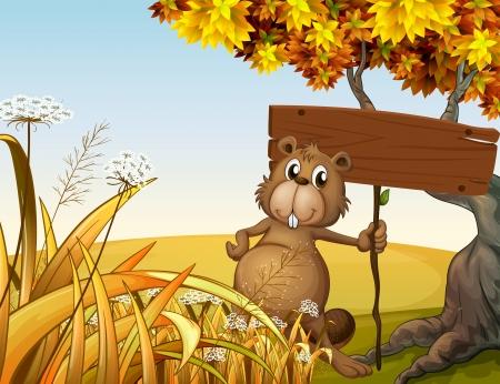 castor: Ilustración de un castor grasa sosteniendo una señal vacía