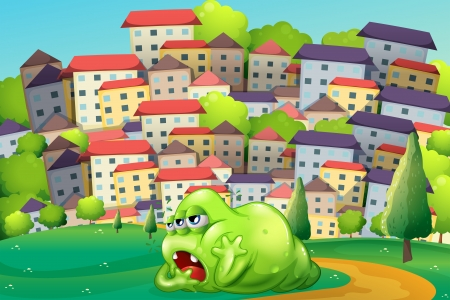 tiresome: Illustration of a monster resting at the hilltop across the village