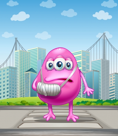 establishments: Illustration of an injured pink monster crossing the street