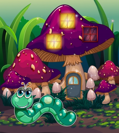 natural resources: Illustration of a worm near the mushroom house