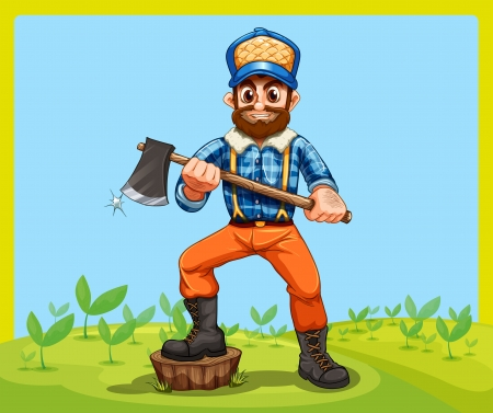 Illustration of an old lumberjack holding an axe while stepping at the stump Vector